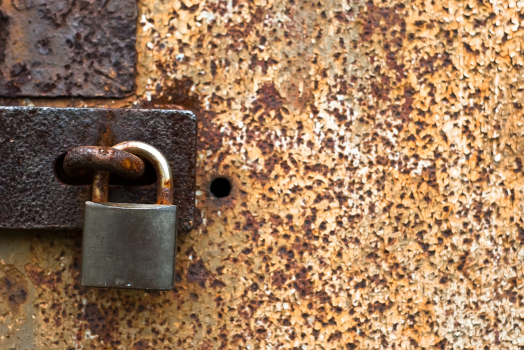rusty garage door lock